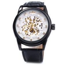 Winner W045 Men Hollow Automatic Mechanical Watch with Leather Band WHITE BLACK (Intl)
