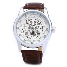 Winner W045 Men Hollow Automatic Mechanical Watch with Leather Band WHITE SILVER (Intl)