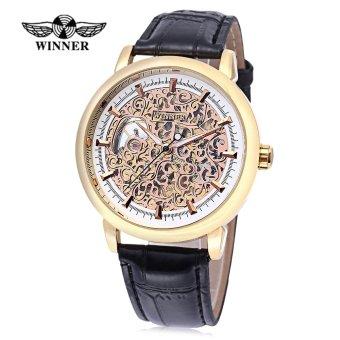 WINNER W09 - 1 Male Auto Mechanical Watch Exquisite Hollow Pattern Dial Luminous Pointer Wristwatch (Gold) - intl