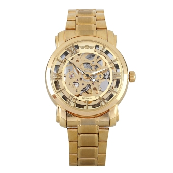 WINNER W136 - G Male Auto Mechanical Watch Hollow-out Dial Luminous Stainless Steel Band Wristwatch (Gold)