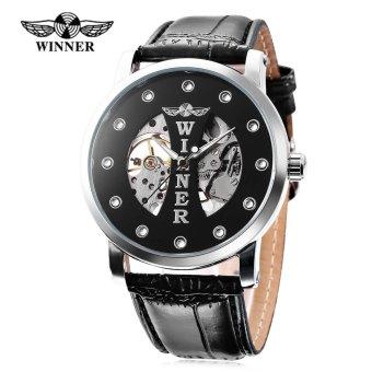 Winner W142 Male Auto Mechanical Watch Crystal Scales Luminous Wristwatch for Men (Black) - intl