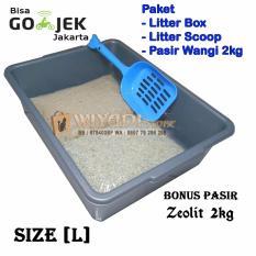 WiyadiStore - Paket Tempat Kotoran Kucing (Litter Box[L], Scoop Pasir, Pasir Wangi)