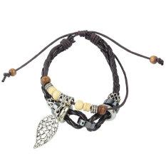 Wnayingkeji Leaf Pendant Beads PU Leather Bracelet Adjustable Wirstband, Brown