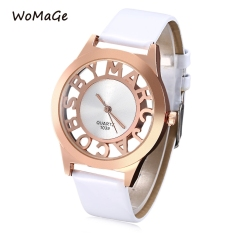 WOMAGE 1039 Female Quartz Watch Letter Pattern Transparent Dial Back Cover Leather Band Wristwatch (WHITE)