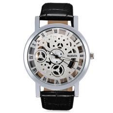 WOMAGE 1050 Female Quartz Watch Wheel Pattern Transparent Dial Roman Numerals Scale Wristwatch (Silver)