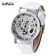 WOMAGE 1050 Female Quartz Watch Wheel Pattern Transparent Dial Roman Numerals Scale Wristwatch (White)