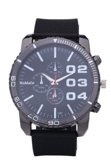 WoMaGe 1091 Men's Watches Casual Quartz Watch Rubber Wrist Military Sports Watch Brand (Black) - intl