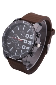 WoMaGe 1091 Men's Watches Fashion Casual Quartz Watch Rubber Wrist Military Sports Watch Brand (Brown) - intl