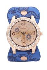 WoMaGe 628-4 Gourd Shapes Leather Strap Lady Casual Analog Rhinestone Quartz Wristwatches (Light Blue)