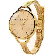 Womage Jam Tangan Wanita Fashion Casual Analog Stainless Steel Strap Lady Wristwatch Watch - Gold