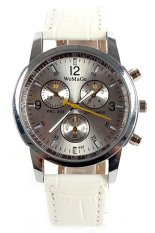 WoMaGe Sports Women's Men's 5Colors Synthetic Leather Round Analog Quartz Wrist Watches (White)