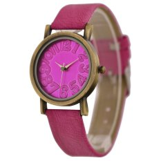 WoMaGe Vintage Casual Women Frosted PU Leather Strap Quartz Watch (Rose Red) (Intl)