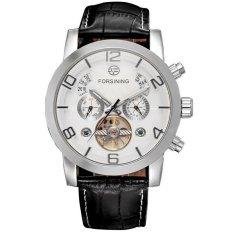 Womdee 2016 New Forsining Relogio Masculino Men's Day / Moon / Year Auto Mechanical Tourbillion PU Leather Wristwatch Gift Box Free Ship