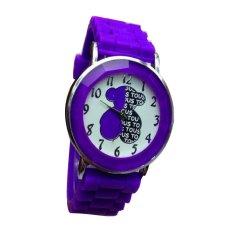Women Children Rubber Belt Bear Pattern Couple Men&Women Lover Wristwatch Valntines Gift Lovely Present Watch (Intl)