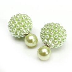 Women Double Faced Big Pearl Two Bead Stud Earring