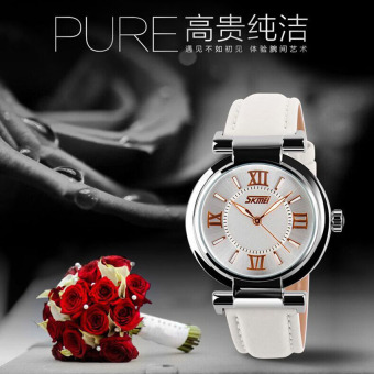 Women Dress Watches 3ATM Waterproof Leather Strap Fashion Quartz Watch (White)