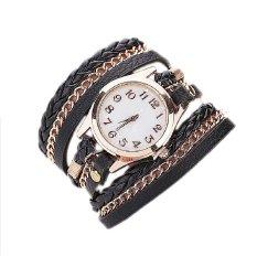 Women Dress Watches Weave Leather Strap Quartz Watches Gold Fashion Leather Bracelet Relogio Feminino Black (Intl)