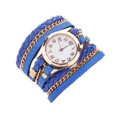Women Dress Watches Weave Leather Strap Quartz Watches Gold Fashion Leather Bracelet Relogio Feminino Blue (Intl)