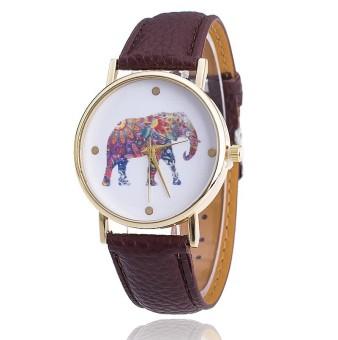 Women Elephant Leather Strap Watch Fashion Women Quartz Wristwatch (Brown)
