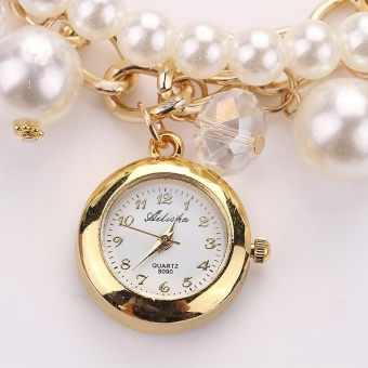 Women Fashion Design High Quality Small Disc Ailisha Ladies Pearl Bracelet Watch White - intl
