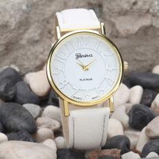Women Fashion Vintage Dial Leather Band Quartz Analog Wrist Watches White (Intl)