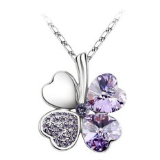 Women Four Leaf Style Crystal Purple Rhinestone Clover Pendant Necklaces
