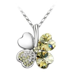 Women Four Leaf Style Crystal Yellow Rhinestone Clover Pendant Necklaces