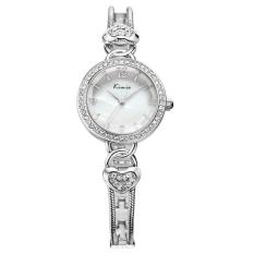 Women Full Stainless Analog Fashion Quartz Watch Ladies Rhinestone Wristwatch (Silver)