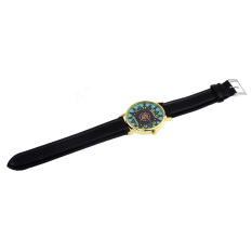 Women Geneva Compass Dial Golden Case Faux Leather Band Wrist Watch Black (Intl)