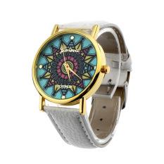 Women Geneva Compass Dial Golden Case Faux Leather Band Wrist Watch White (Intl)
