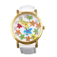 Women Geneva Rose Flower Digital Dial Fashion Electronic Belt Watch White