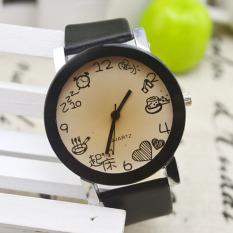 Women Girls Fuax Leather Strap Round Dial Quartz Wrist Watch Black (Intl)
