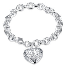 Women Hollow Out Heart Shaped Silver Plated Bracelet Fashion Bangle Body Chain Jewelry - Intl