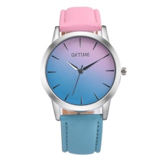 Women Lady Fashion Watches Gradient Color Embossed Leather Belt Rainbow Candy Color Simple Women Quartz Watch Two-Color Strap Fresh Color Watch - intl