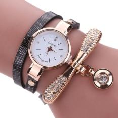 Women Leather Rhinestone Analog Quartz Wrist Watches - Black - intl