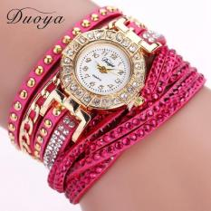 Women Luxury Crystal Women Gold Bracelet Quartz Wristwatch Rhinestone Watches Watermelon RedFree Shipping