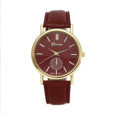 Women Luxury Leather Geneva Dress Watches Man Unsex Watch Girls Wristwatches (Red) - Intl