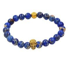 Women Men Bracelet Skull Elastic Beaded Bracelet Tibet Charm Bracelets Blue