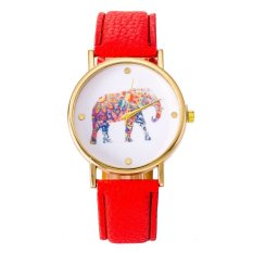 Women National Wind Elephant Casual Leather Strap Quartz Wrist Watch Red