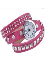 Women Retro Fashion Rivet Synthetic Leather Strap Bracelet Watch (Pink)