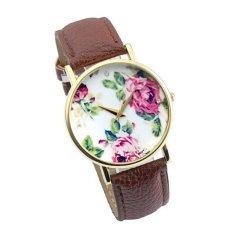 Women Rose Leather Band Quartz Analog Wrist Watches Watch Brown (Intl)