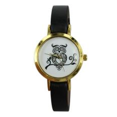 Women's Unique Owl PU Strap Round Dial Casual Wrist Watch Watches (Black)