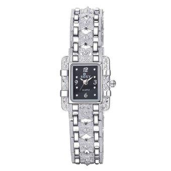 Women Square Dial Silver Steel Bracelet Rhinestone Quartz Watch Black