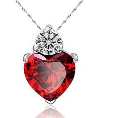 Women Sterling Silver Crystal Heart Pendant Rhinestone Chain Jewelry (Red)