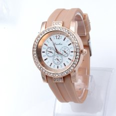 Women Three Candy Colored Jelly Silicone Casual Ladies Watches Beige (Intl)