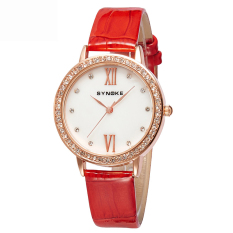 Women Watches Leather Watchband Quartz Watch 5201-Red (Intl)