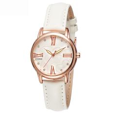 Women Watches Leather Watchband Quartz Watch 5203-Beige (Intl)