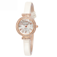 Women Watches Leather Watchband Quartz Watch 5206-Beige (Intl)
