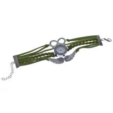 Womens Bracelet Weave Wrap Quartz Leather Angel Wings Wrist Watches Green (Intl)