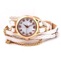Women's Charm Chic Candy Vintage Weave Wrap Rivet Leather Bracelet Wrist Watch White - Intl
